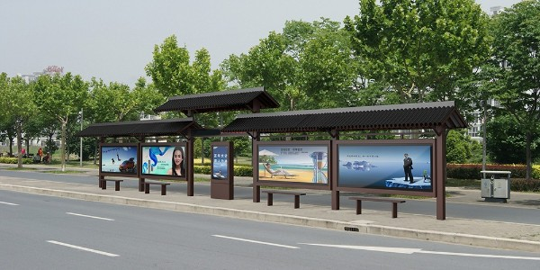 河南省洛阳市伊川县公交候车亭、站牌、垃圾箱等街具